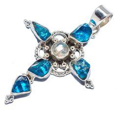 "Rough Apatite, Natural Ethiopian Opal Cross 925 Sterling Silver Pendant 2"" PD543408"