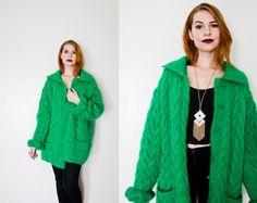 Vintage 1980s Sweater - ANNE KLEIN Oversized Kelly Green Wool Fuzzy Cardigan 80s - Large / XL