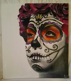PurpleSkull Handgeschilderd op mdf 61x54 cm €185,-