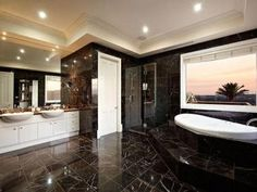 Modern bathroom design with twin basins using granite - Bathroom Photo 332496