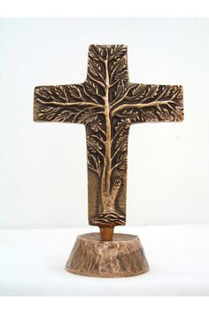 Bronze Tree of Life Standing Cross