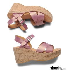 classic platform wedge sandal in Petunia pink. #wedge