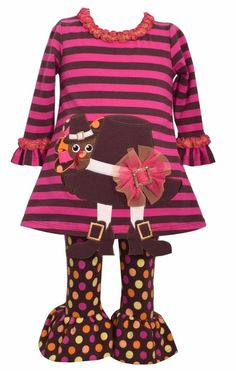 Bonnie Jean Thanksgiving Turkey Pilgrim Hat Tunic and Legging Set, Girls, 24 Months. 2 Pc Top and Pants Set. Festive Turkey & Pilgrim Hat Themed Applique. Chocolate Brown & Hot Pink Colors. Ruffle Collar, Cuffs, & Hemline. Machine Washable in Cold Water; Lay Flat to Dry.