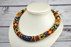 Ethnic Necklace African Necklace beaded necklace por IrisBeadsArt