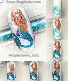 How to make a pretty Christmas tree pattern easily - My Nails Cute Nail Art, Cute Nails, Nail Art Disney, Anime Nails, Sea Nails, Nail Drawing, Mermaid Nails, Nail Art Videos, Nagel Gel