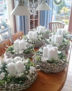 christmas centerpieces Simple And Popular Christmas Decorations; Silver Christmas Decorations, Christmas Candles, Diy Wedding Decorations, Christmas Themes, Christmas Centerpieces For Table, Wedding Centerpieces, Candle Centerpieces, Centrepieces, Diy Candles