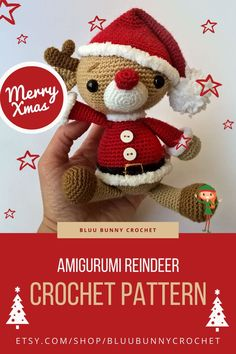 Amigurumi Reindeer Pattern, Rudolph Crochet Deer Pattern, Christmas Crochet, Santa's Hat Amigurumi Pattern, Reindeer Boy - Rudy, Crochet Reindeer Tutorial for Christmas Decoration. His name is Rudy Reindeer. This is a DOWNLOADABLE TUTORIAL. Written in English. Crochet Santa Hat, Bunny Crochet, Crochet Deer, Crochet Snowman, Christmas Crochet Patterns, Crochet Animal Patterns, Crochet Doll Pattern, Stuffed Animal Patterns, Cute Crochet