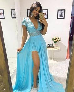 Blue Long Prom Dress Sexy Lace Deep V Neck Capped Sleeves Detachable Sweep Train Chiffon Formal Evening Dresses Special Occasion Party Gowns Party Gowns, Wedding Party Dresses, Sexy Dresses, Prom Dresses, Vestidos Sexy, Chiffon, Formal Evening Dresses, Dress For You, Ideias Fashion