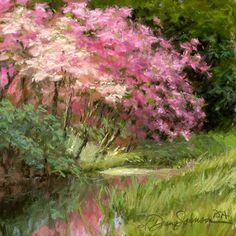 """Sun's Grace"" Original soft pastel painting by LDiane Johnson.com Painted on location at Callaway Gardens, GA"