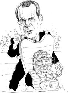 A few years ago, The New York Times claimed that Ellis saw Richard Nixon behind the plate, calling balls and strikes.