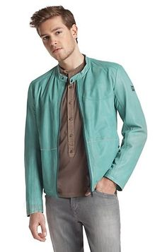 Lamb leather jacket 'Jabbo-W', Turquoise.  You can't actually own to many leather jackets, fact!