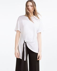 Image 2 of T-SHIRT WITH FRONT KNOT from Zara