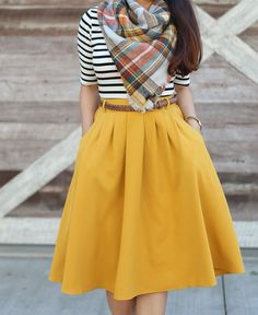 Mustard Pleated Skirt, Stripes and Plaid Blanket Scarf #skirtoutfits