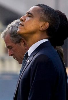 Two presidents during a prayer at the tenth  year anniversary of 9/11.....speaks volumes
