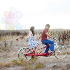 This super cute couple hopped on a bright red tandem bicycle with a bunch of pastel colored balloons for their So. Cal. engagement shoot!