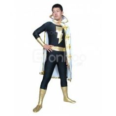 Spandex Lycra Superhero Costume With Long Cape
