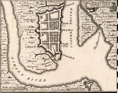 """This is 1733 map of Charleston (Charles Town), South Carolina. It is the setting for """"A Convenient Misfortune."""""""