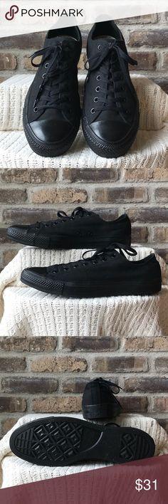 Converse All-Stars Men's size 13 women's size 15 black on black Converse All-Stars. EUC Converse Shoes Sneakers