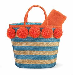 Bright orange pom pom flowers add a pop of color to this blue striped wheat straw tote that is perfect from the beach to the bar. Features a coordinating polka dot wipe clean lining. Monogram Shop, Monogram Jewelry, Monogrammed Gifts For Her, Pom Pom Flowers, Cool Kids Clothes, Summer Purses, Straw Tote, Mud Pie, Blue Stripes