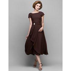 Lanting+A-line+Mother+of+the+Bride+Dress+-+Chocolate+Tea-length+Short+Sleeve+Chiffon+–+AUD+$+102.95