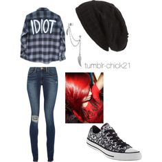 Michael Clifford inspired outfit by tumblr-chick21 on Polyvore featuring polyvore, fashion, style, Frame Denim, Converse, Bling Jewelry and David & Young
