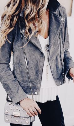 Grey suede leather jacket fashion inspiration