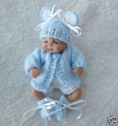 "Hand knitted dolls clothes 4.5"" ooak sculpt baby"