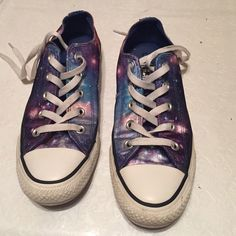 Galaxy satin converse Cute colorful galaxy converse!❤️ excellent shape! Converse Shoes Sneakers