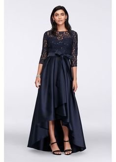 Lace Bodice High-Low Ball Gown $200.00