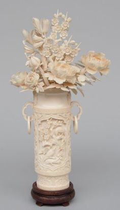 A Chinese Carved Ivory Flower Basket, First Half