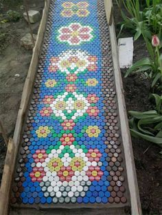 DIY garden pathway - bottle caps