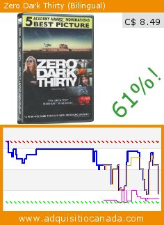 Zero Dark Thirty (Bilingual) (DVD). Drop 61%! Current price C$ 8.49, the previous price was C$ 21.98. By Kathryn Bigelow, Taylor Kinney, Jessica Chastain, Scott Adkins, Mark Strong, Mark Duplass. http://www.adquisitiocanada.com/alliance-films/zero-dark-thirty-0