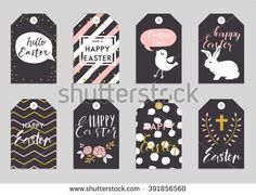 Easter gift tags with cute easter bunny watering can with flowers easter greeting cards collection cute easter bunny and chick watering can with flowers and negle Gallery