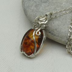 Baltic Amber Necklace - Genuine Amber Jewelry - Pendant - Sterling Silver. $55.00, via Etsy.