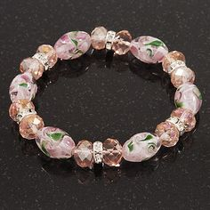 Floral Pink Glass Bead & Crystal Ring Flex Bracelet - Up to 21cm Length - main view