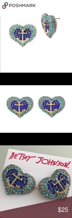 Betsey Johnson AnchorsAway Pave Heart Stud Earring ANCHORS AWAY Pave Heart Stud Earrings by Betsey Johnson.  B12134-E-01 Betsey Johnson Jewelry Earrings