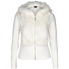City Chic Finesse Fur Jacket ($60) ❤ liked on Polyvore featuring outerwear, jackets, fuzzy jacket, fur hooded jacket, white hooded jacket, hooded jacket and zip front jacket