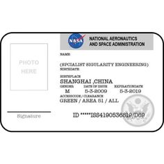 NASA id card badge National Aeronautics Space Administration From the Identity Props Store