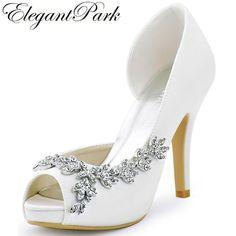 8e655d3d937b Women Platform High Heels Bridal Wedding Shoes Ivory White Rhinestones Peep  toe Bride Bridesmaids Prom Pumps Navy Blue