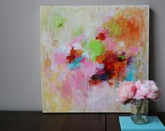 Abstracto arte, pintura original, pintura abstracta pequeño 24 x 24, rojo pintura abstracta, pintura modean, acrílico abstracto