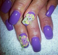 3d #purple #flower nails