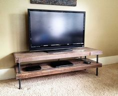 Vintage and Modern Mosaic Table - TV Stand - Media Center - Console Table - Reclaimed Rustic Wood with Steel Legs