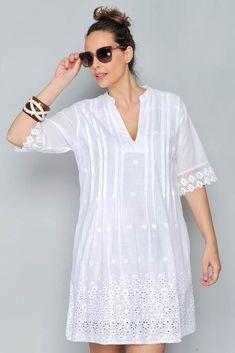 Embroidery Blouse Designs White 51 Ideas For 2019 Simple Dresses, Nice Dresses, Summer Dresses, White Fashion, Lace Tops, Cotton Dresses, Blouse Designs, Dress Skirt, Ideias Fashion
