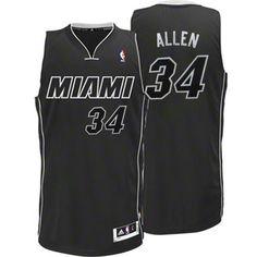 Adidas NBA Miami Heat 34 Ray Allen White on Black Fashion Swingman Jersey
