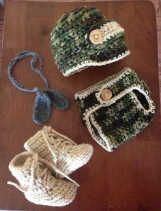 Crochet Army newborn photography prop for boy by CrochetbyDestinee, $33.00