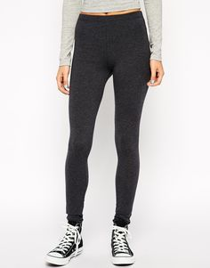 Image 4 of ASOS High Waisted Leggings In Charcoal Marl