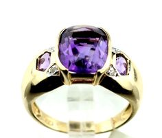 14k Yellow Gold Amethyst 0.40ct Diamond Cocktail Ring Size 6.75, 4.6g B4. #Unbranded #Cocktail