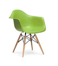 Charles Ray Eames Style DAW Arm Chair - Green