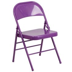 Add some fashionable flair to your chair with Flash Furniture Hercules Series Triple Braced and Double Hinged Red Metal Folding Chair. Best Folding Chairs, Metal Folding Chairs, Metal Chairs, Black Chairs, Side Chairs, Fine Furniture, Furniture Sets, Purple Furniture, Furniture Chairs