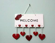 Handcrafted welcome sign ceramic wall plaque/Ceramics and pottery/Wall hanging/Handmade/Heart/Red/Housewarming Gift/Ceramic welcome tile by nazsCERAMICS on Etsy